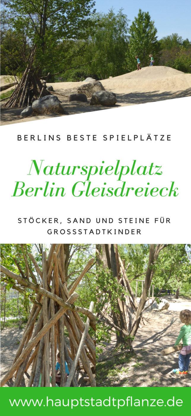 Spielplatz mit Sand, Holz und Stein | Naturefahrungsraum im Park am Gleisdreieck Berlin