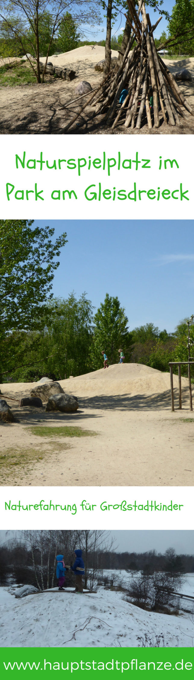 Spielplatz mit Sand, Holz und Stein   Naturefahrungsraum im Park am Gleisdreieck Berlin